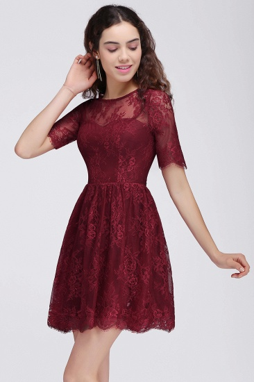BMbridal A-Line Round Neck Short Lace Burgundy Homecoming Dress_1