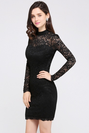 BMbridal High Neck Long Sleeve Lace Black Sexy Cocktail Dress_4
