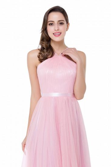 BMbridal Sheath Pink Tulle Ribbon Sash Simple Bridesmaid Dress_9