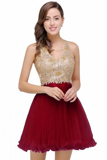 BMbridal Short Tulle A-line V-Neck Appliques Sleeveless Prom Dress_1