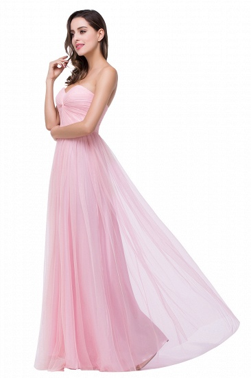 Affordbale A-line Tulle Sweetheart Ruffle Pink Bridesmaid Dress Online In Stock_6
