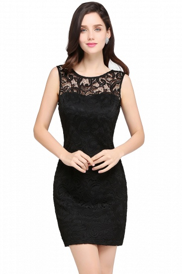 BMbridal Sleeveless Bodycon Black Lace Short Sexy Cocktail Dress_6