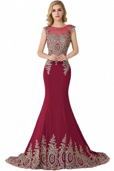 BMbridal Mermaid Court Train Chiffon Evening Dress with Appliques_3