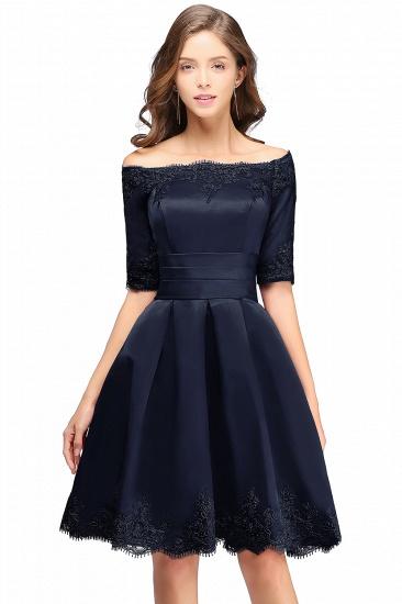BMbridal Chic Half Sleeve Lace-up Off-shoulder Lace Appliques Short Prom Dress_4