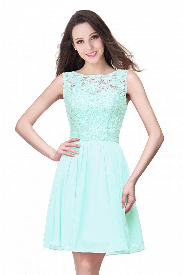 Affordable Chiffon Lace Short Bridesmaid Dresses with Ruffle In Stock_9