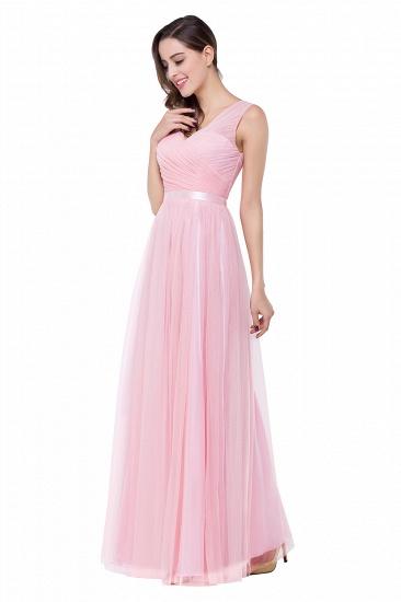 BMbridal A-line Ruffled Tulle Sleeveless Ribbon Sash V-neck Bridesmaid Dress_7