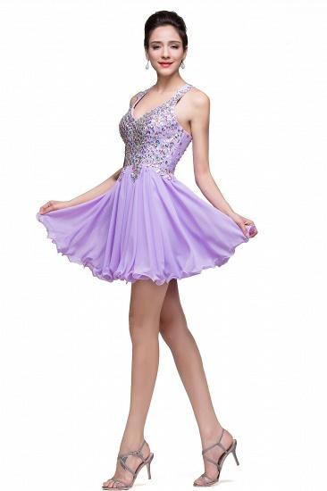 BMbridal Chic Crisscross-straps Crystal Beads Ruffle Chiffon Sweetheart Short Prom Dress_12