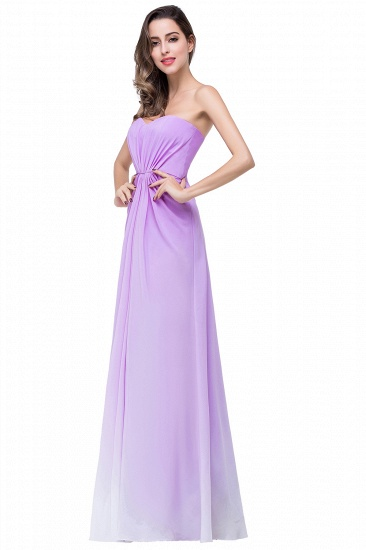 Gorgeous A-line Strapless Lilac Chiffon Bridesmaid Dress Cheap In Stock_6