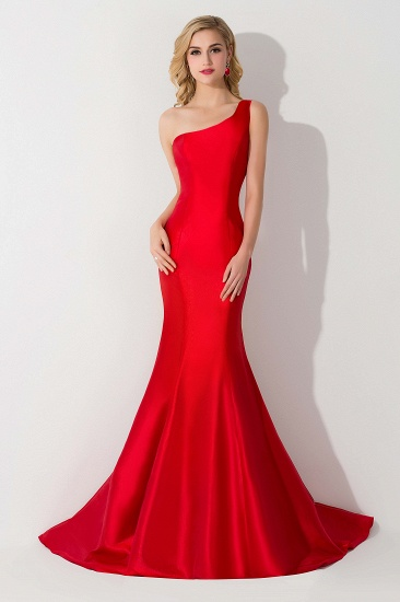 BMbridal One Shoulder Red Mermaid Long Party Gowns_5