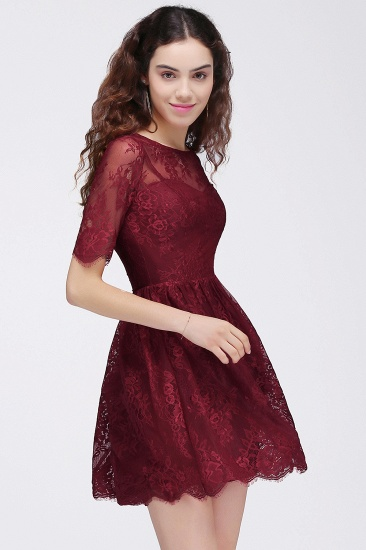 BMbridal A-Line Round Neck Short Lace Burgundy Homecoming Dress_7