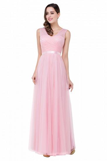 BMbridal A-line Ruffled Tulle Sleeveless Ribbon Sash V-neck Bridesmaid Dress_6