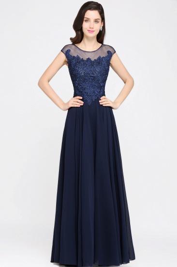 BMbridal Cap Sleeve Lace Appliques Long Chiffon Evening Dress_1