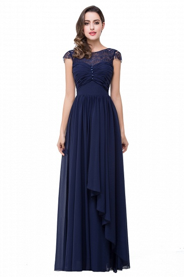 BMbridal A-line Ruffles Ribbon Bow Capped Lace Chiffon Bridesmaid Dress