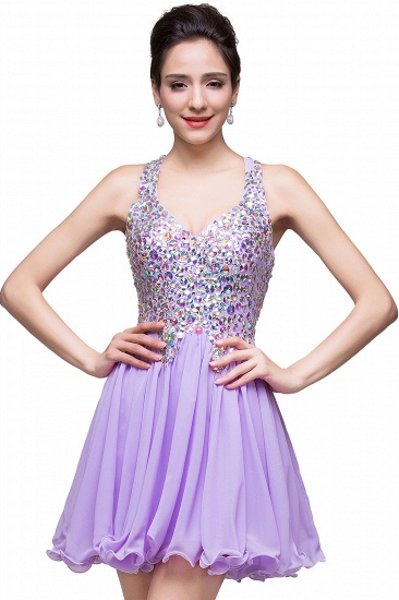 BMbridal Chic Crisscross-straps Crystal Beads Ruffle Chiffon Sweetheart Short Prom Dress