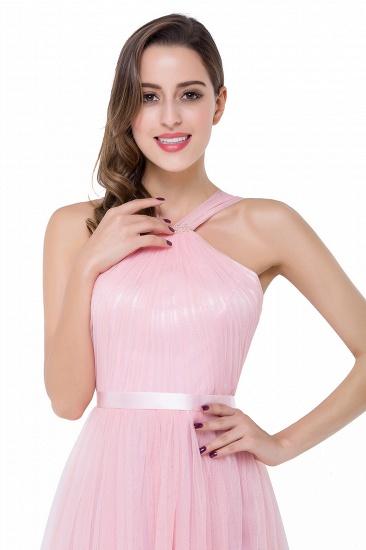 BMbridal Sheath Pink Tulle Ribbon Sash Simple Bridesmaid Dress_10