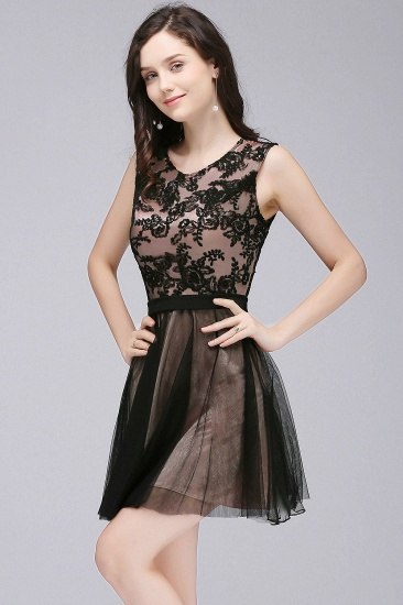 BMbridal Short Lace Appliques Tulle Sleeveless Prom Dress