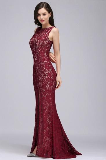 BMbridal Crew Front-split Backless Prom Dress Sweep-train Sleeveless Burgundy Lace Mermaid Evening Dress_5