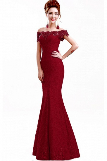 Off-the-Shoulder Lace Mermaid Prom Dress Long Evening Party Gowns Online_4