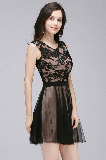 BMbridal Short Lace Appliques Tulle Sleeveless Prom Dress_6