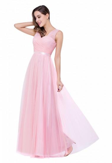 BMbridal A-line Ruffled Tulle Sleeveless Ribbon Sash V-neck Bridesmaid Dress_11