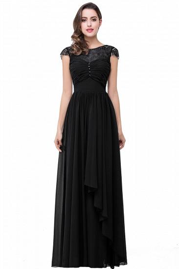 BMbridal A-line Ruffles Ribbon Bow Capped Lace Chiffon Bridesmaid Dress_2