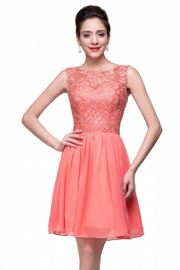 Affordable Chiffon Lace Short Bridesmaid Dresses with Ruffle In Stock_12