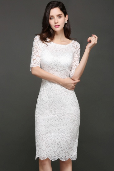 BMbridal Lace Jewel Short Ivory Fashion Knee-length Sleeve Evening Dress_6