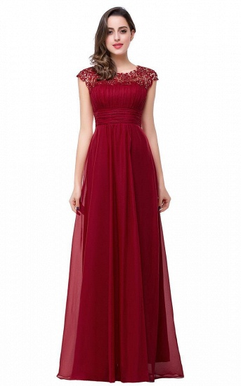 Affordable A-Line Jewel Red Chiffon Lace Bridesmaid Dress In Stock_2
