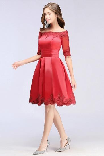 BMbridal Chic Half Sleeve Lace-up Off-shoulder Lace Appliques Short Prom Dress_10