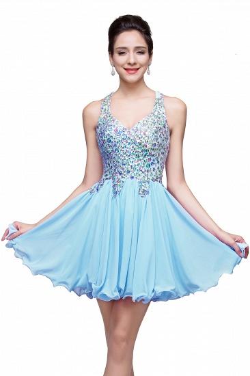 BMbridal Chic Crisscross-straps Crystal Beads Ruffle Chiffon Sweetheart Short Prom Dress_3