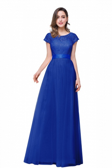 BMbridal Short Sleeve Long Lace Bridesmaid Dresses_3