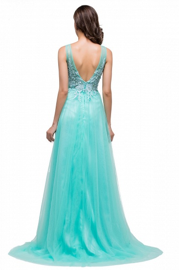 BMbridal A-line Court Train Tulle Evening Dress with Appliques_10