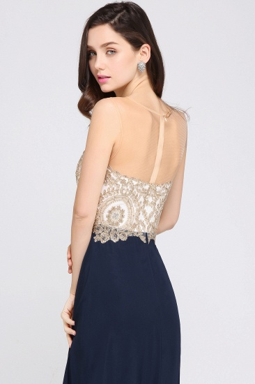 BMbridal Sheer Tulle A-line Chiffon Beads Lace Appliques Sleeveless Long Evening Dress_6