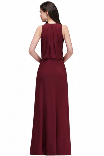 BMbridal Front-split Crystal Floor-length V-neck Sleeveless Burgundy A-line Evening Dress_3