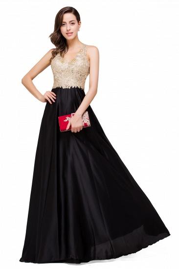 BMbridal V-neck Satin Floor-Length A-Line Appliques Backless Prom Dress_4