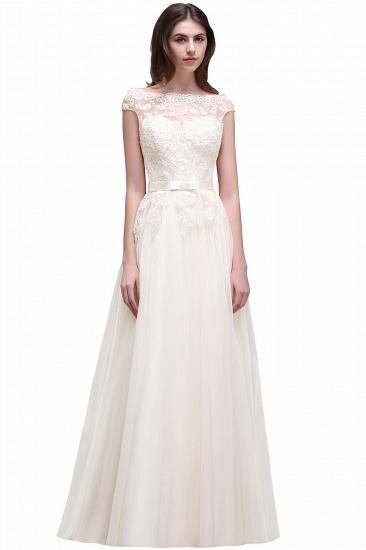 BMbridal Cap Sleeve Lace Appliques Long Evening Dress_1