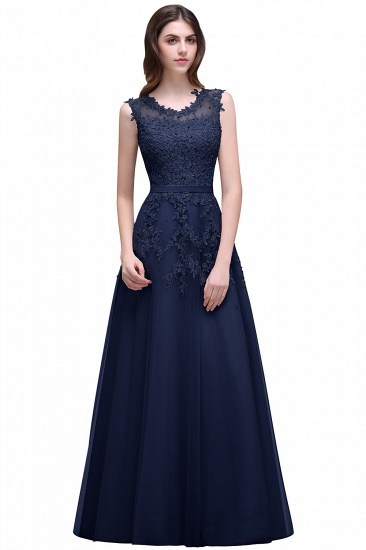 BMbridal A-line Floor-length Tulle Prom Dress with Appliques_6