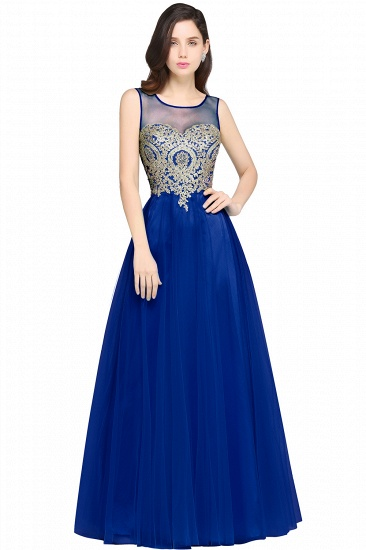 BMbridal Gorgeous Illussion Scoop Long Prom Dress With Lace Appliques_4