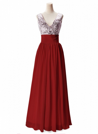 BMbridal A-line V-neck Chiffon Party Dress With Sequined_2