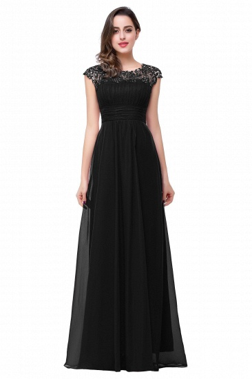 Affordable A-Line Jewel Red Chiffon Lace Bridesmaid Dress In Stock_3