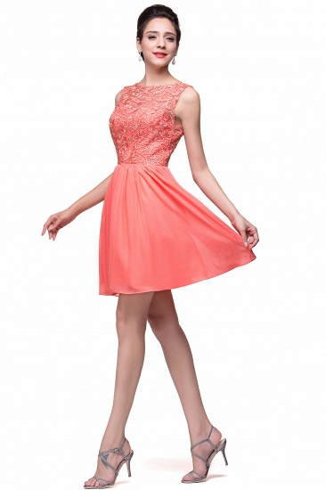BMbridal Affordable Chiffon Lace Short Bridesmaid Dresses with Ruffle In Stock_12