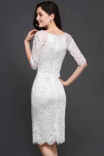 BMbridal Lace Jewel Short Ivory Fashion Knee-length Sleeve Evening Dress_4