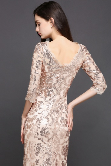 Gorgeous Long Sleeve Sequins Prom Dress Mermiad Long Evening Party Gowns_4