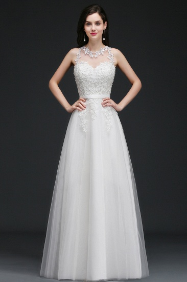 BMbridal A-Line Sleevelss Long Prom Dress With Lace Appliques