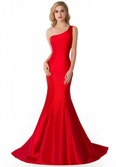 BMbridal One Shoulder Red Mermaid Long Party Gowns_4