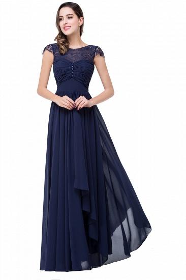 BMbridal A-line Ruffles Ribbon Bow Capped Lace Chiffon Bridesmaid Dress_5