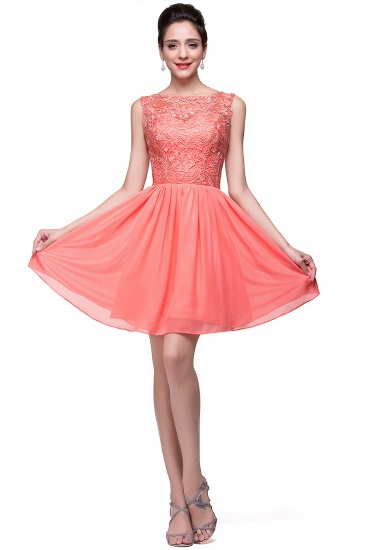 Affordable Chiffon Lace Short Bridesmaid Dresses with Ruffle In Stock_15