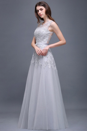 BMbridal A-line Floor-length Tulle Prom Dress with Appliques_12