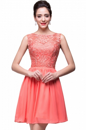 Affordable A-line Chiffon Lace Short Sleeveless Ruffles Bridesmaid Dresses