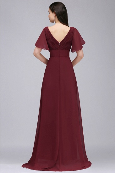 Affordable Chiffon Burgundy Long Bridesmaid Dresses with Soft Pleats In Stock_8
